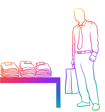 Young Man In Suit Shopping Rainbow