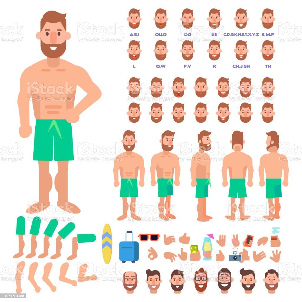 58d77f18f7 Jeune homme en maillot de bain sur la création de vacances sertie de  diverses vues,
