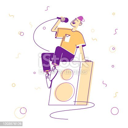 istock Young Man in Teenage Clothing Sitting on Huge Dynamics on Stage Holding Microphone and Singing Song at Karaoke Bar or Night Club. Music Entertainment Leisure Cartoon Flat Vector Illustration, Line Art 1203576126