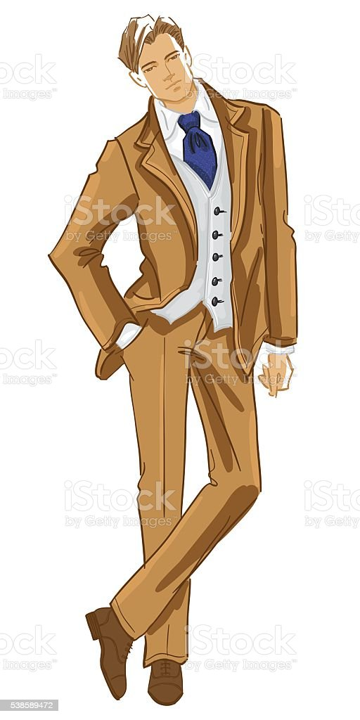 Young man in tweed english suit vector art illustration