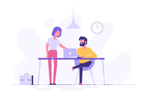 young man is sitting at a desk with computer and his colleague is pointing to a screen and giving advice. office business concept. modern vector illustration. - office job stock illustrations, clip art, cartoons, & icons