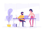 Young man is sitting at a desk with laptop and his colleague is pointing to a screen and giving advice. Office business concept. Modern vector illustration.