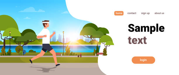 young man jogging outdoors modern public park guy in headphones running sport activity concept cityscape sunset background horizontal banner copy space young man jogging outdoors modern public park guy in headphones running sport activity concept cityscape sunset background horizontal banner copy space vector illustration waterfront stock illustrations