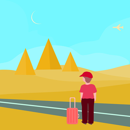 Young man journal to pyramid , desert in autumn.  Charactor cartoon flat design vector illustration, abstract background texture wallpaper pattern