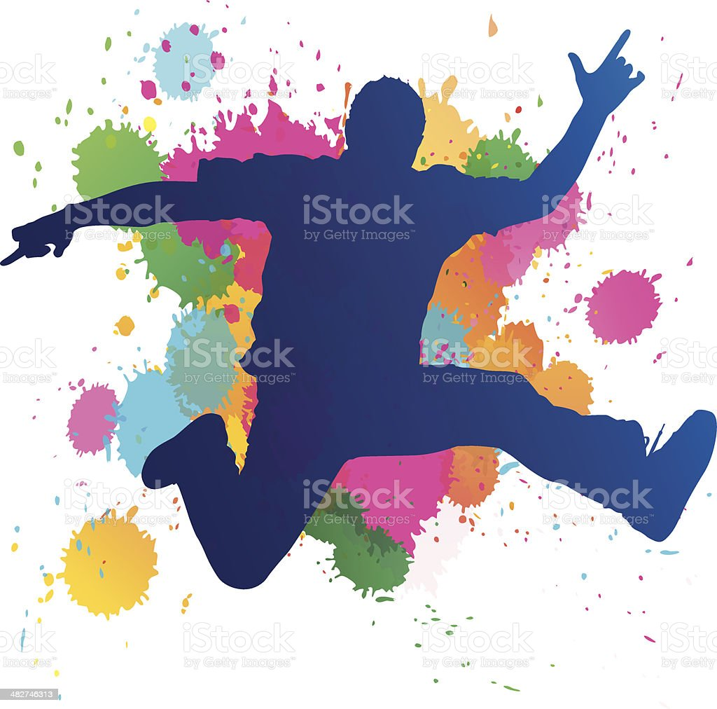 Young Man jumping against a paint splatter background. vector art illustration