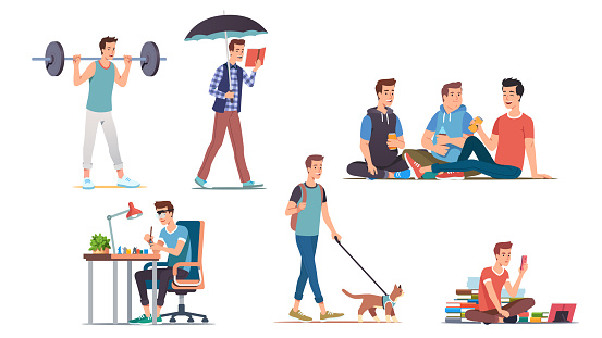 Young man lifestyle & hobbies set. Student guy enjoying lifting weight, walking cat, reading book, drinking beer with friends, painting miniatures. Youth leisure & activities. Flat vector illustration