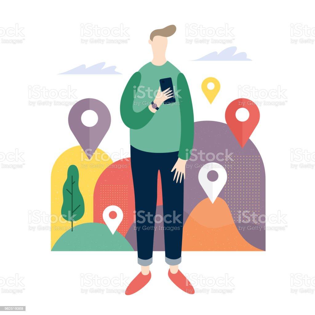 Jovem olhando para apps de celular. Serviços on-line no telefone inteligente. - Vetor de Dispositivo de informação portátil royalty-free