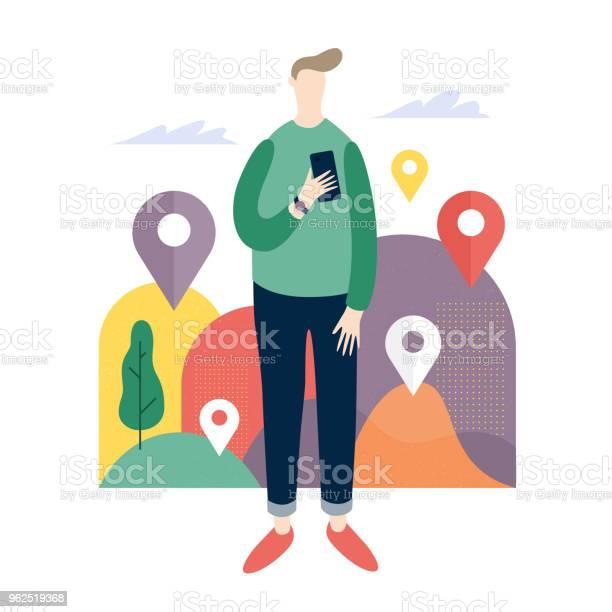 Vetores de Jovem Olhando Para Apps De Celular Serviços Online No Telefone Inteligente e mais imagens de Dispositivo de informação portátil