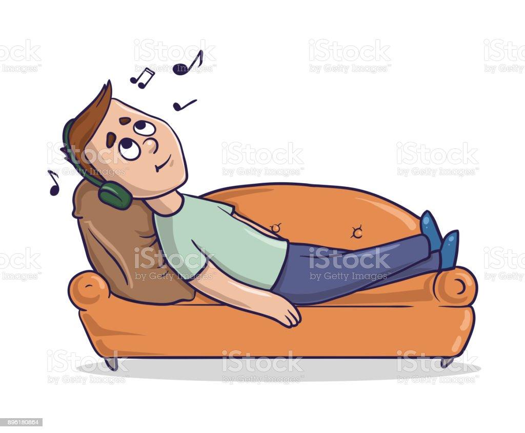 jeune homme allong sur un divan couleur sable coute de la musique dans son casque illustration. Black Bedroom Furniture Sets. Home Design Ideas