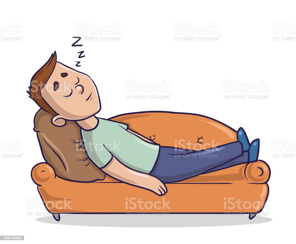 Young Man Lying On A Sandy Colored Couch Takes A Nap. Guy Sleeping On