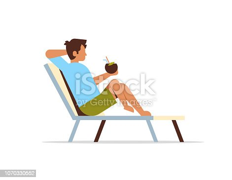 young man lying on sun lounger holding coconut cocktail summer vacation concept flat isolated vector illustration
