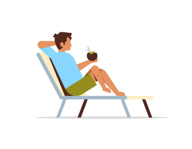 young man lying on sun lounger holding coconut cocktail summer vacation concept flat isolated young man lying on sun lounger holding coconut cocktail summer vacation concept flat isolated vector illustration outdoor chair stock illustrations
