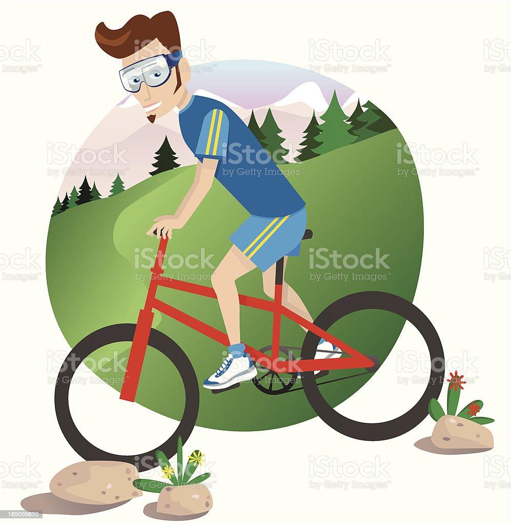 Young man mountain biking downhill royalty-free stock vector art