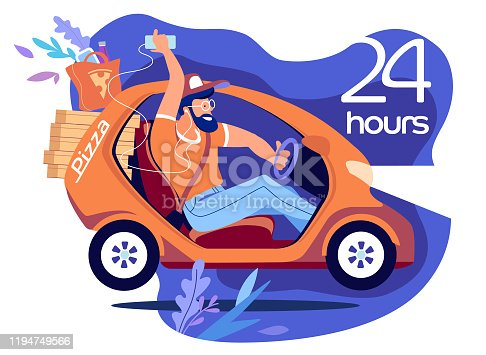 Electric car delivery pizza 24 hours