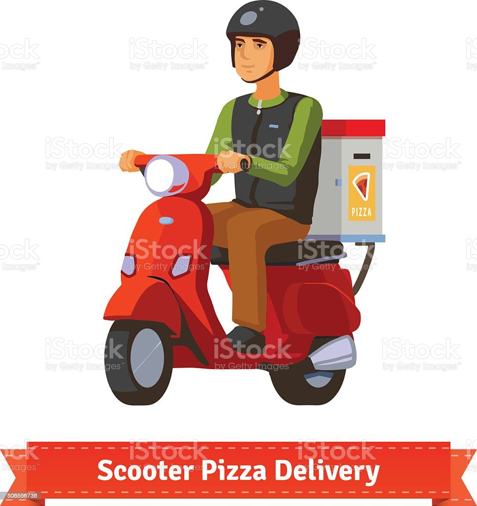 Young man on a scooter delivering pizza vector art illustration