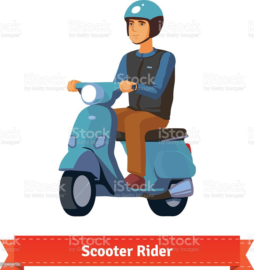 Young man on a scooter with helmet vector art illustration