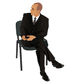 Young man on business suit sitting in office chair isolated