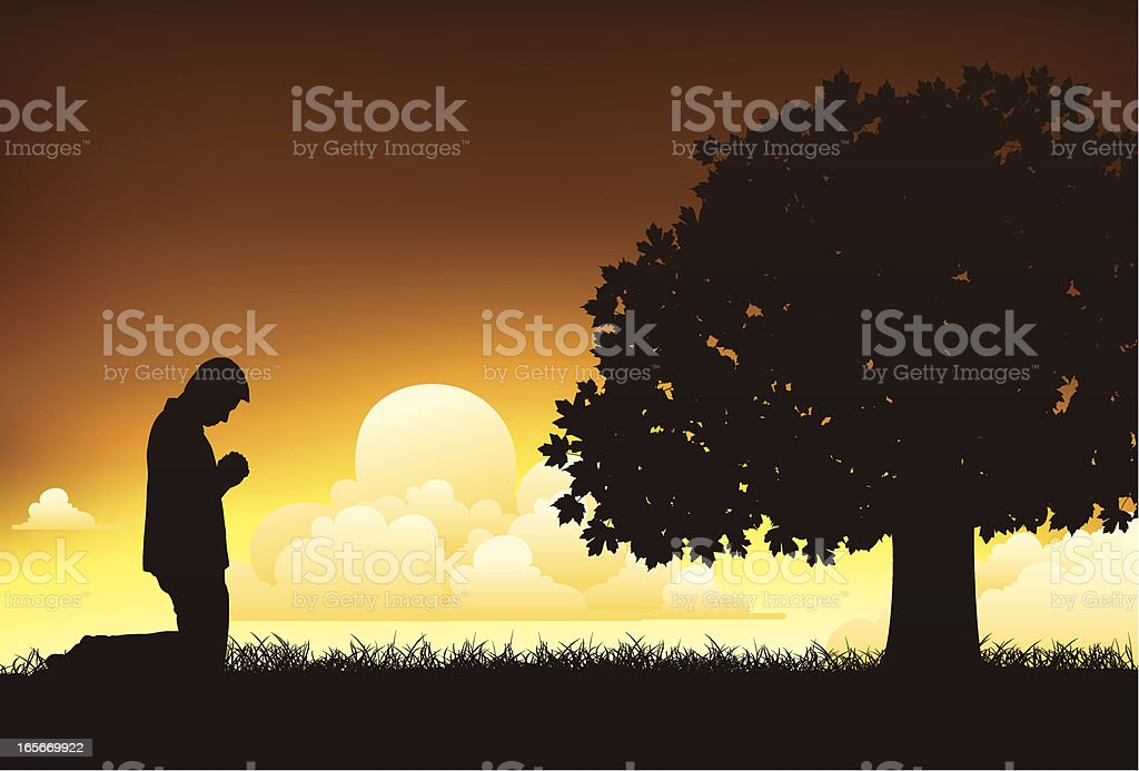 Young man on his knees praying royalty-free stock vector art