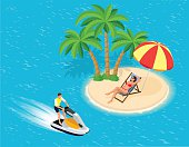 Young Man on Jet Ski, Tropical Ocean