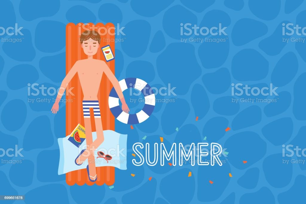 young man on the airmattress at the swimmingpool. vector art illustration