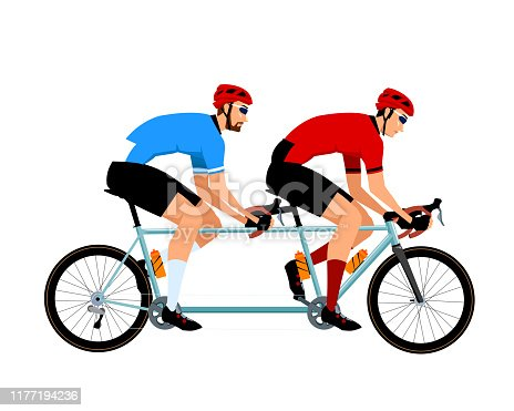 2 Young Man on the Tandem Road Bike. White Background Isolated.