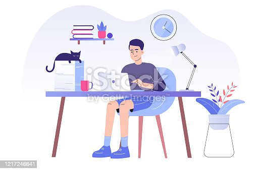 Young man or freelancer sitting on her a desk with cat and working online with a laptop at home illustration. Social distancing and self-isolation during corona virus quarantine. Vector illustration