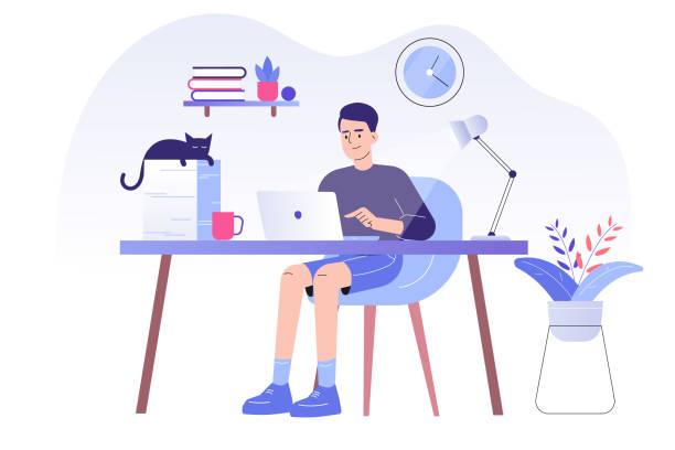 ilustrações, clipart, desenhos animados e ícones de jovem ou freelancer sentado em uma mesa com gato e trabalhando online com um laptop na ilustração de casa. distanciamento social e auto-isolamento durante a quarentena do vírus corona. ilustração vetorial - home office