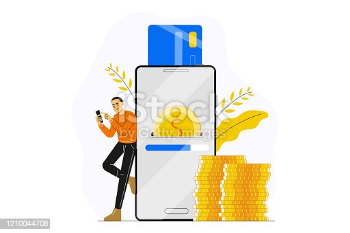 Young man or guy making payment with smartphone app. Concept of secure mobile payment, online banking, card to card money transfer service, transaction, donation, digital wallet.  Vector illustration.