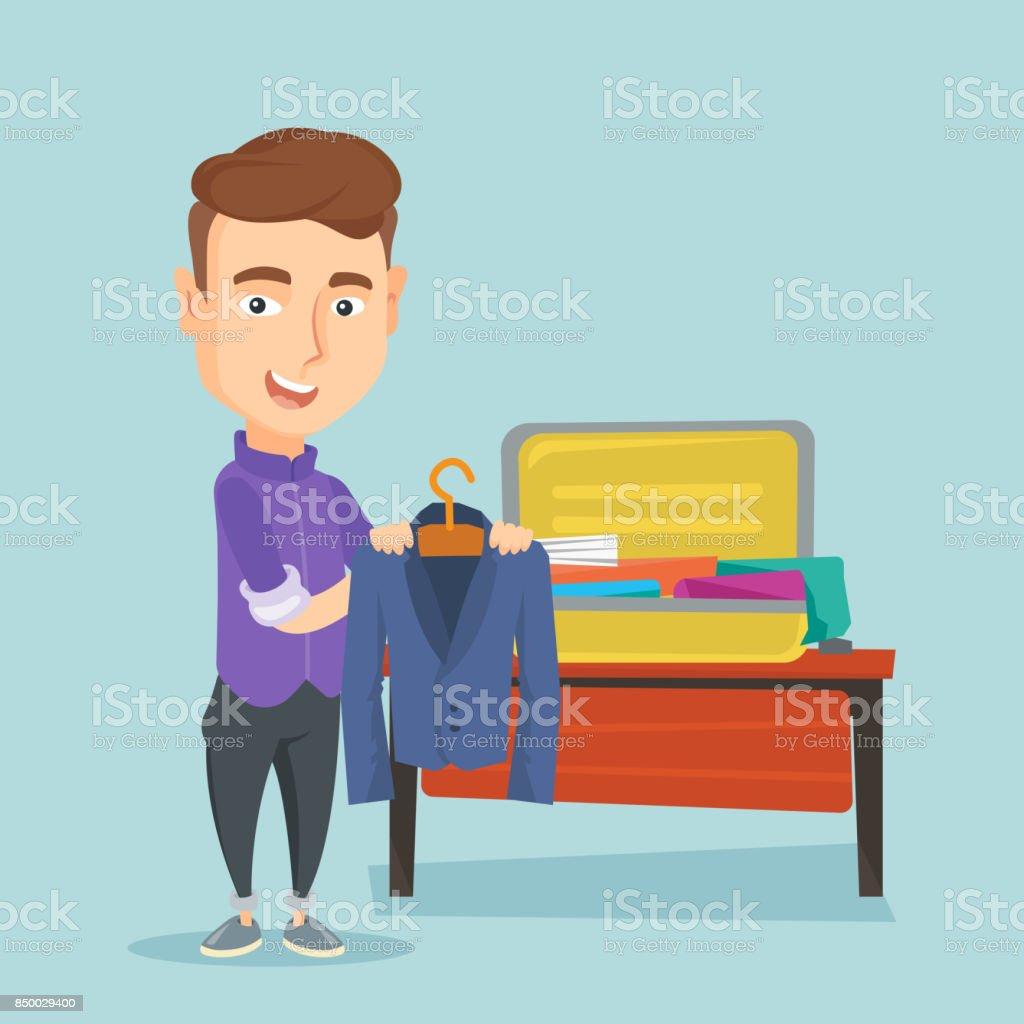 Junger Mann packen seine Koffer-Vektor-illustration – Vektorgrafik