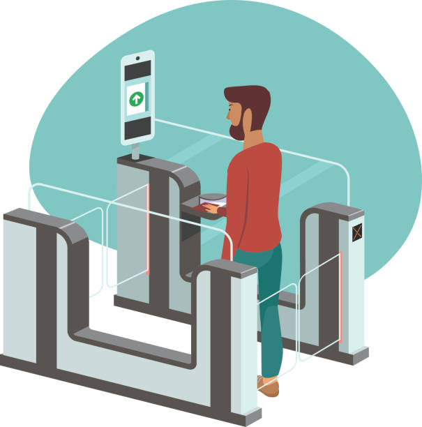 Young man passing through automated passport border control gates Young man passing through automated passport border control gates flat vector illustration airport borders stock illustrations