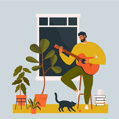 A young man playing guitar at home.  Guitarist musician is sitting in quarantine alone. Flat vector illustration.