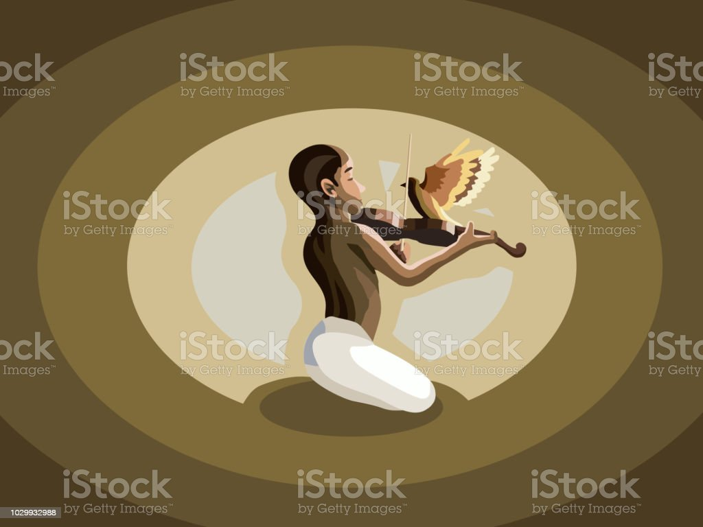 Young man playing guitar meditating with music in peace. vector art illustration