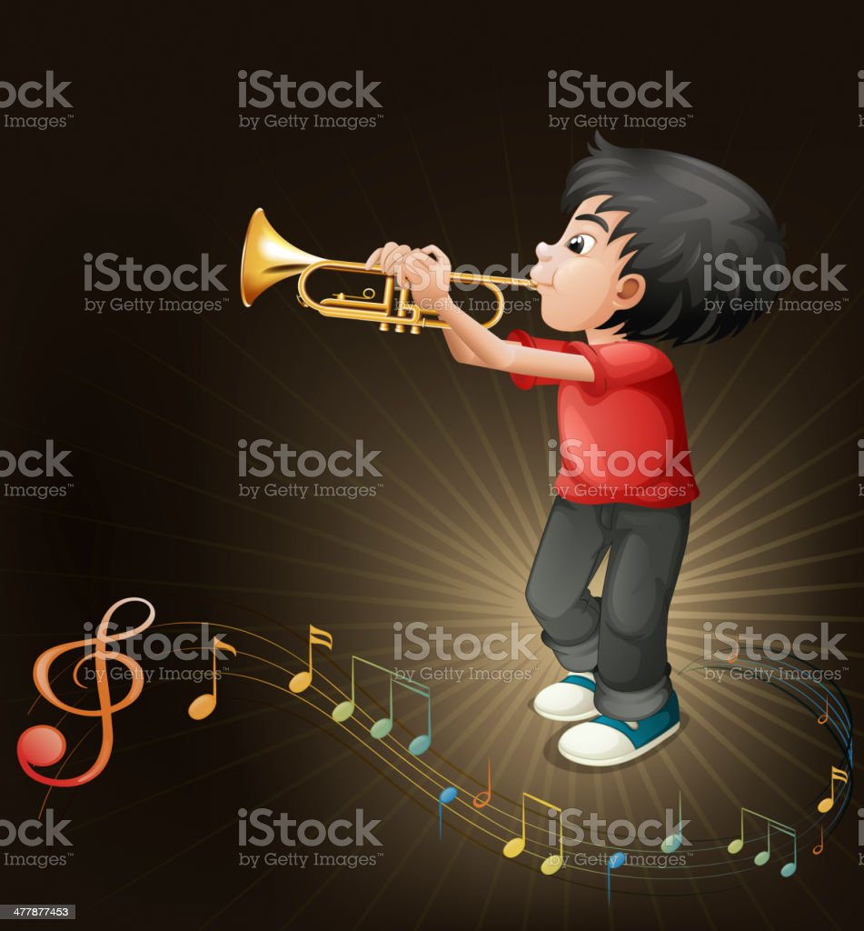 young man playing with his trombone vector art illustration