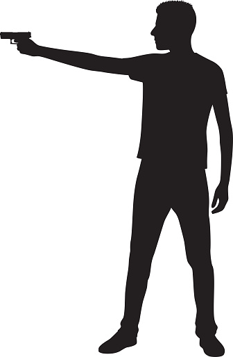 Young Man Pointing Gun Silhouette