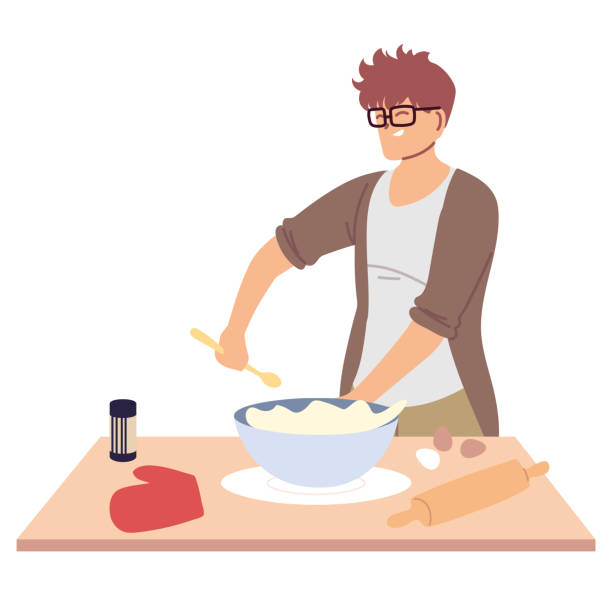 young man preparing a cake in white background - busy restaurant kitchen stock illustrations