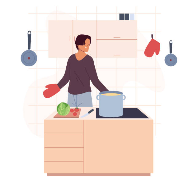 young man preparing soup in kitchen - busy restaurant kitchen stock illustrations