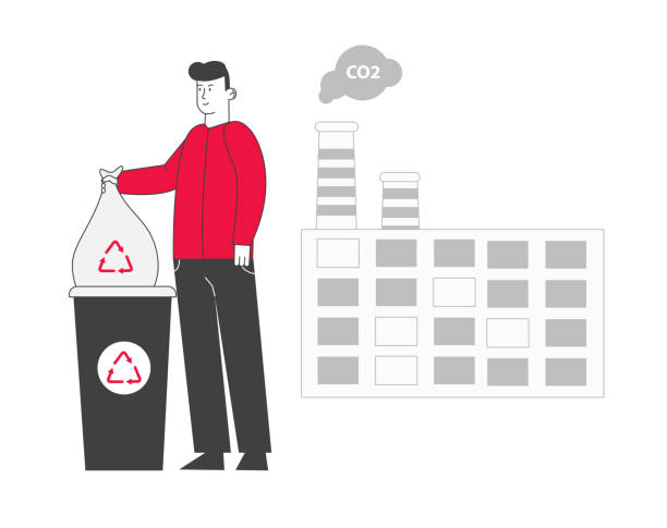 Young Man Put Trash Bag to Litter Bin with Recycle Sign near Factory with Smoking Pipes. Stop Pollution Concept Ecology Protection Problem Recycling Solution Cartoon Flat Vector Illustration, Line Art Young Man Put Trash Bag to Litter Bin with Recycle Sign near Factory with Smoking Pipes. Stop Pollution Concept Ecology Protection Problem Recycling Solution Cartoon Flat Vector Illustration, Line Art plastic pollution stock illustrations