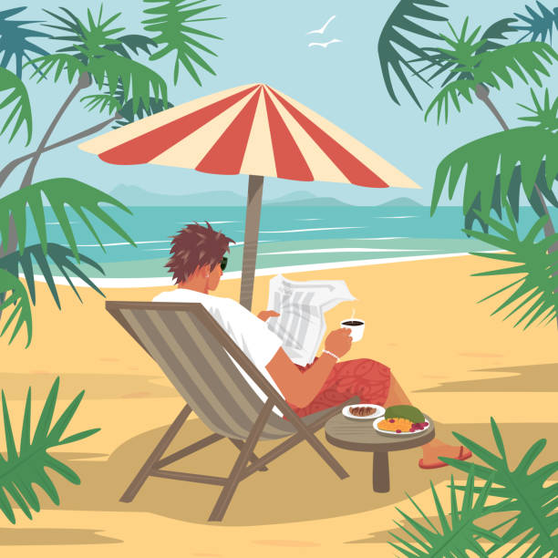 stockillustraties, clipart, cartoons en iconen met jonge man leest de krant op tropisch strand - newspaper beach