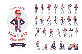 Young man ready-to-use character set