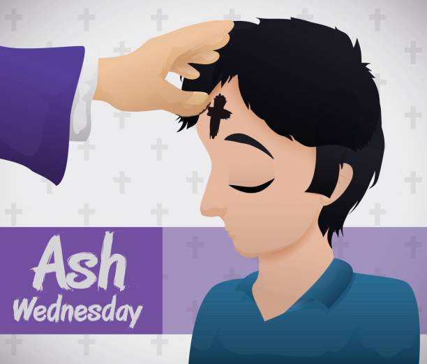 young man receiving the blessed cross on ash wednesday - ash wednesday stock illustrations, clip art, cartoons, & icons