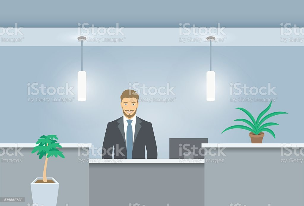 Young man receptionist stands at reception desk front view vector art illustration