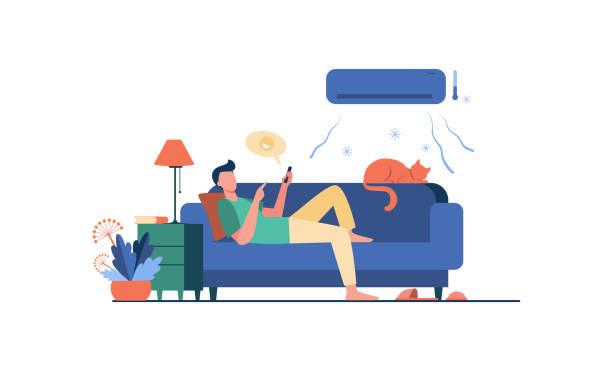 stockillustraties, clipart, cartoons en iconen met jonge mens die bij laag onder airconditioner ontspant - alleen één jonge man