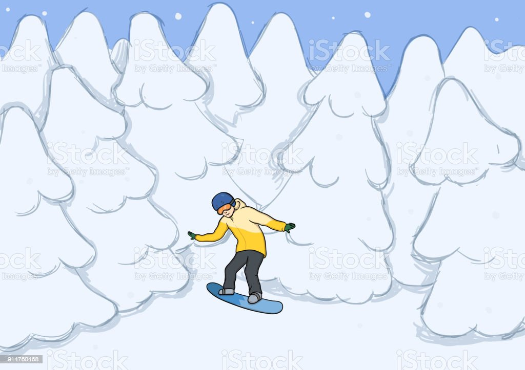 A Young Man Riding A Snowboard Amongst The Snowcovered Trees