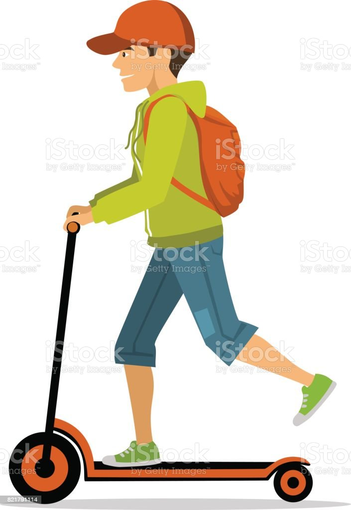 young man riding electric kick scooter vector art illustration