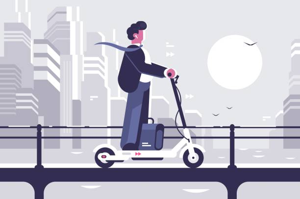 young man riding electric scooter modern cityscape - в пути stock illustrations