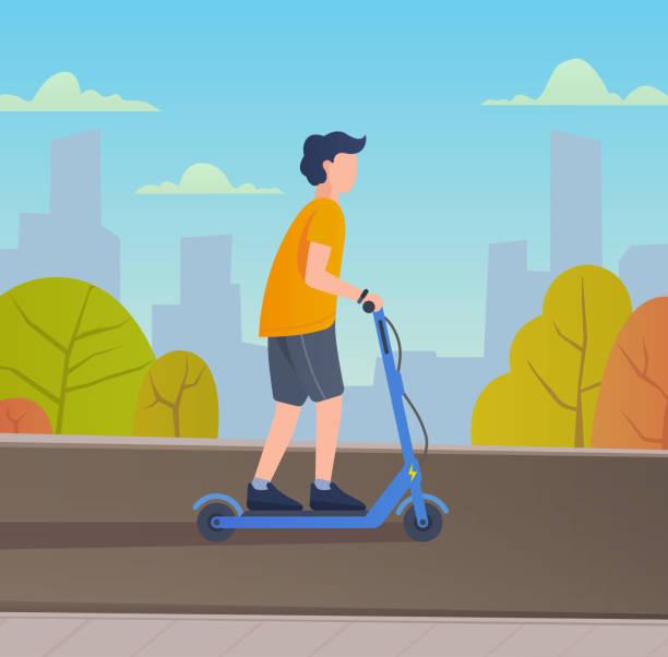 illustrazioni stock, clip art, cartoni animati e icone di tendenza di young man riding electric scooter. - monopattino elettrico