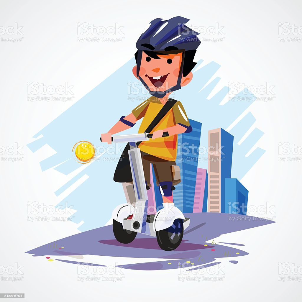 young man riding segway gyropode electric two wheels vehicle vector art illustration