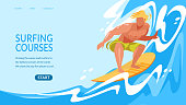 Surfing Courses Horizontal Banner with Young Man Riding Surf Board by Ocean Waves. Sportsman in Motion, Sparetime, Summer Sport Activity, Healthy Lifestyle, Leisure Cartoon Flat Vector Illustration