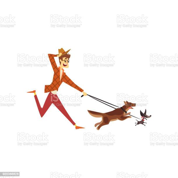 Young man running with his dogs cute pets with its owner vector on a vector id935388828?b=1&k=6&m=935388828&s=612x612&h=frqw3ianatekl u7cwcs6ipu4pnank6xjfja95cqdmi=