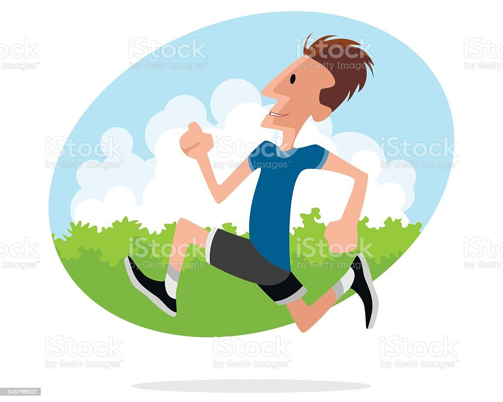 Young man runs vector art illustration